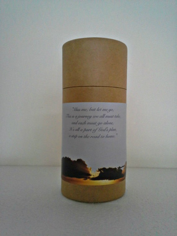 """Eco-Friendly Cremation Urn Scattering Tube w/Telescopic Lid - Natural/Biodegradable - Style """"Heavenly"""""""