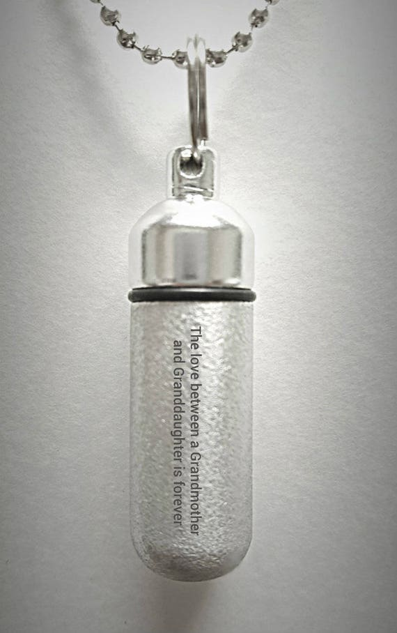 """Engraved  """"The love between a Grandmother and Granddaughter is forever"""" Brushed Silver CREMATION URN Necklace  w/Velvet Pouch and Fill Kit"""