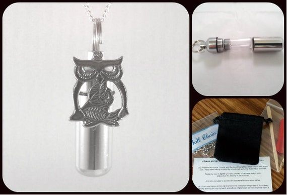 "Complete Set - Wise OWL Cremation Urn on 24"" Ball-Chain Necklace  - Custom Hand Assembled.... with Velvet Pouch and Fill Kit"