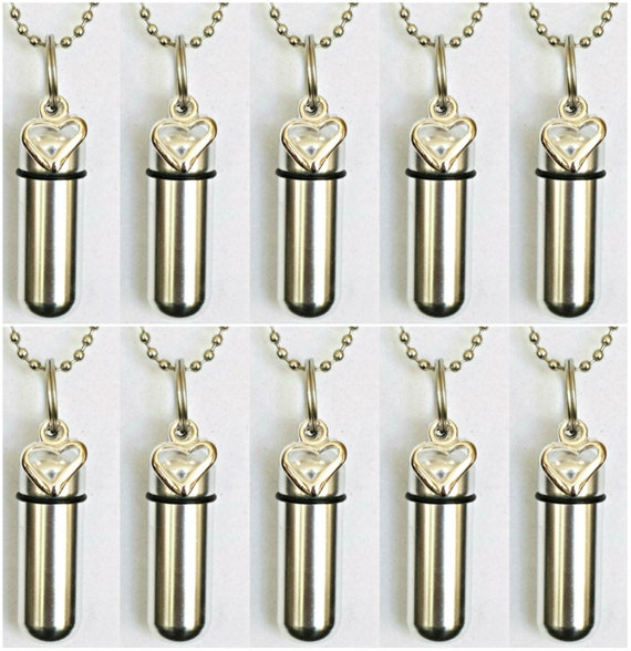 10 PIECE SET - Silver Open Heart Cremation Urn Necklaces with Pouches & Chains / Urn Keepsake / Urn For Ashes / Urn Jewelry / Ashes Necklace