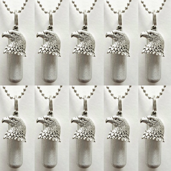 Unique Set of 10 Brushed Silver CREMATION URN Necklaces with Bald Eagle and Engraved US Flag - Includes 10 Pouches, 10 Ball-Chains, Fill Kit