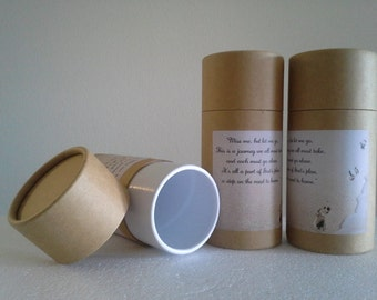 "SET OF THREE Eco-Friendly Cremation Urn Scattering Tubes w/Telescopic Lids - Natural/Biodegradable - Style ""Footprints"""