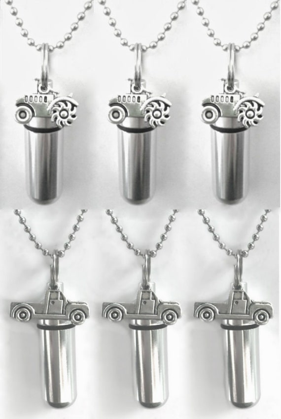 Special Set of SIX  Personal Cremation URNS - Tractors & Pickup Trucks - Includes 6 Velvet Pouches, 6 Ball-Chains and Fill Kit