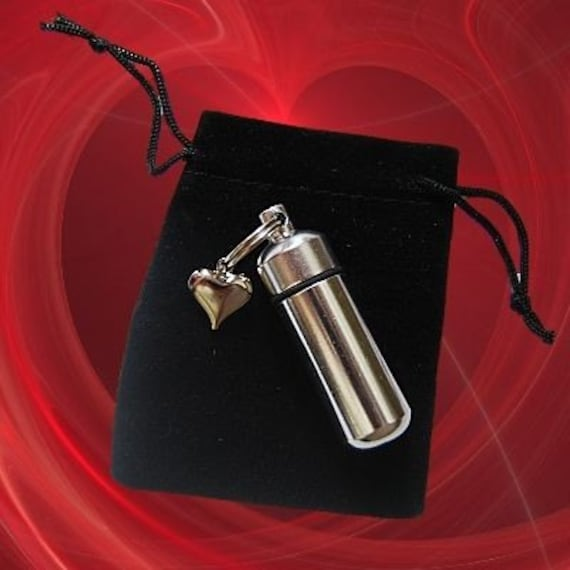 Lovely Silver Personal Cremation Urn and Vial with  Puffed Heart - includes Velvet Pouch and Disposable Fill Kit