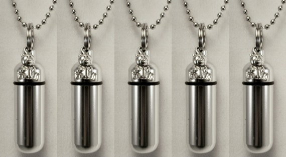 Family Set of FIVE Teddy Bear Cremation Urn Keepsake Necklaces - Includes 5 Velvet Pouches, 5 Ball-Chains & Fill Kit