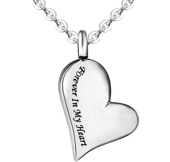 """Beautiful Stainless Steel """"Forever In My Heart"""" Cremation Urn on 24"""" Curb Chain Necklace - with Velvet Pouch and FIll Kit"""