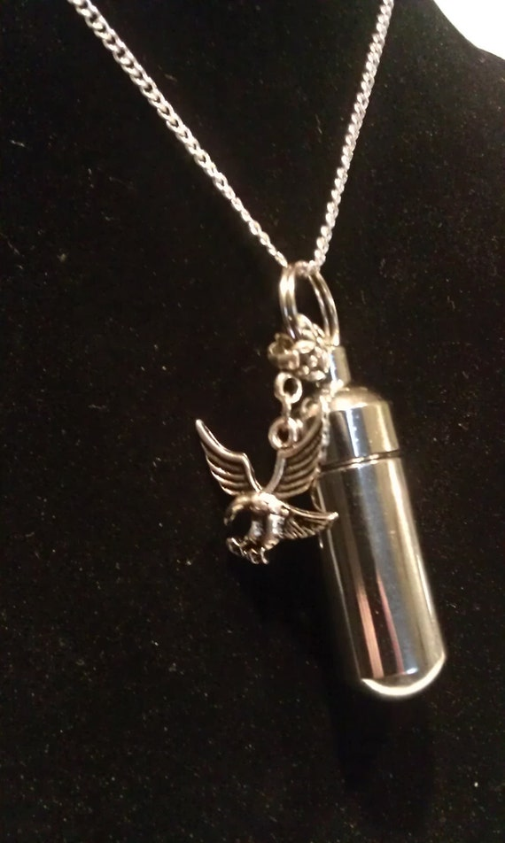 "Silver Cremation Urn & Vial on 18"" Necklace with AMERICAN EAGLE - Custom Hand Assembled.... with Velvet Pouch and Fill Kit"