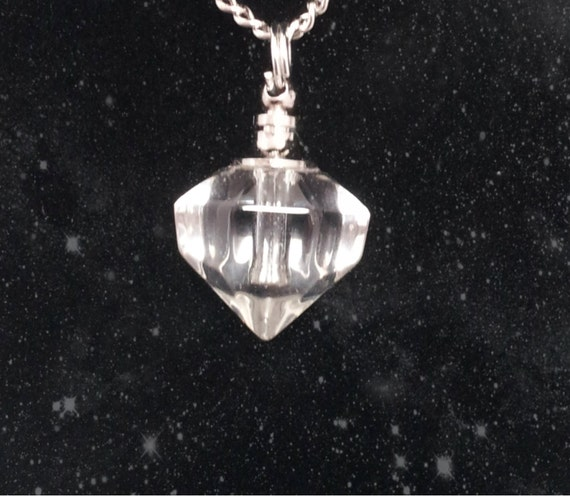 """Clear Crystal Diamond CREMATION URN on 24"""" Silver Necklace  -   with Velvet Pouch and Mini Funnel"""