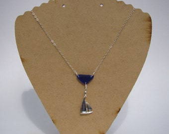 Sterling Silver Sailboat Necklace - Cobalt Sea Glass Pendant - Nautical Jewelry