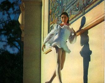Margot Fonteyn Vintage Print Marigny Theatre Paris Agathe Les Demoiselle de la Nuit Frontis, Frameable Print, BB/1950/1