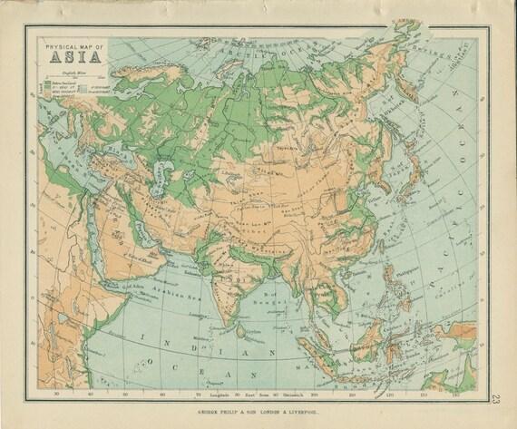 Cartina Asia Fisica.1895 Mappa Fisica Asia Artico Oceano Indiano Vittoriano Etsy