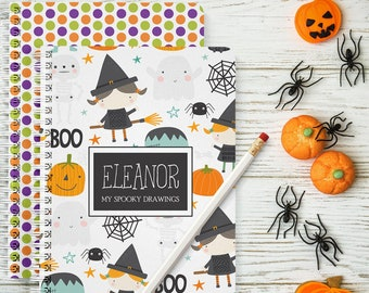 Mini Halloween Sketchbook, Personalized, Busy Book, Drawing Book, Gift