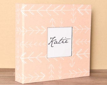 PRE-ORDER // Baby Book, Baby Gift, Baby Album, Baby Memory Book, Baby Keepsake, Modern Baby Book, Pink/Coral Arrows