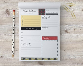TEACHER Daily Planner Notepad, Personalized, Organization, To Do Lists