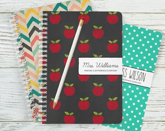 Small Teacher Notebook, Spiral Notebook, Small Notebook, Personalized Gift, School Notes, Lesson Plans, To Do Lists