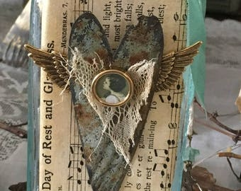 NEW Altered Vintage Light Aqua Apothecary Bottle With Ceiling Tile Heart with Wings and Hope Theme