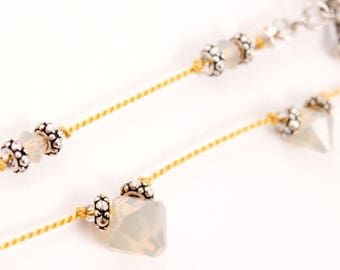 Yellow Knotted Silk Necklace, Sand Opal Swarovski Crystals