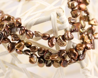 Bronze Triple Strand Pearl Necklace, Keishi Freshwater, Knotted Silk Cord - Renee Necklace