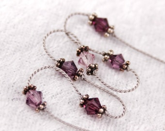 Purple Bracelet, Anklet, Knotted Silk Cord, Swarovski Crystals