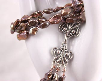 Mauve Keishi Pearl Necklace, Knotted Silk, Three Strands, Freshwater, Mauve Pink Bronze