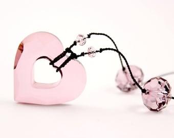 Pink Crystal Heart Necklace, Black Knotted Silk, Swarovski Crystals