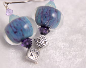 Lampwork Glass Earrings, Turquoise Purple with Celtic Knots