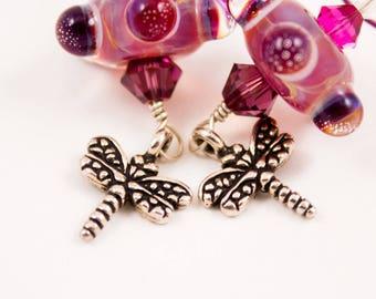 Magenta Glass Dragonfly Earrings
