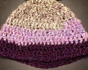Beanie Hat, Custom Color, Stripes, Vegan, Soft, Washable