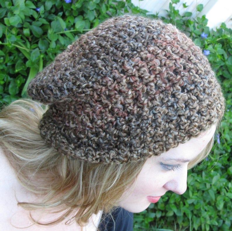 Soft Washable Vegan Green Beanie Crochet Hat