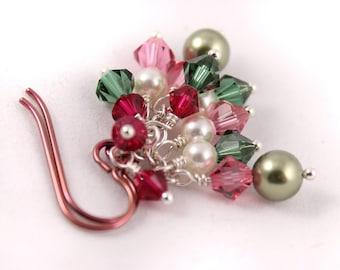 Cluster Earrings in Watermelon, Crystals Pearls Swarovski