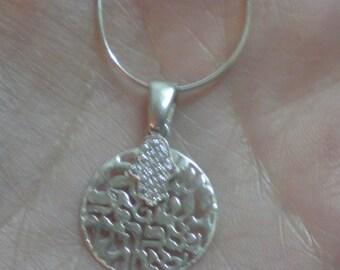 Shmah Israel silver zircons hand hamsa spark of Jearusalem pure beauty necklace