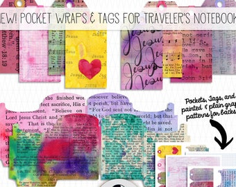 Printable Traveler's Notebook Scripture Insert - Pockets & Tags - bible journaling, faith art journal, scrapbooking, junk journal, planner
