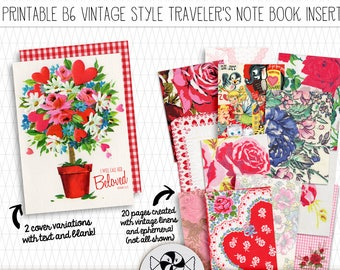Traveler's Notebook Insert for Fauxdori - Printable B6 TN With Vintage Valentines Linens & Ephemera for Prayer Journal or Bible Journaling