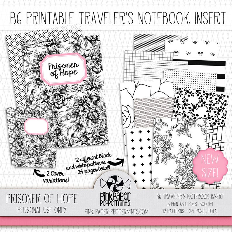 image about Free Printable B6 Inserts identified as Printable B6 Holidaymakers Laptop Include for Fauxdori/Midori - Artwork Magazine - Bible Journaling - Junk Magazine - Bullet Magazine - Sbooking
