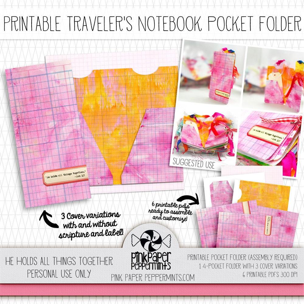 Printable Traveler\'s Notebook Pocket Folder with scripture | Etsy