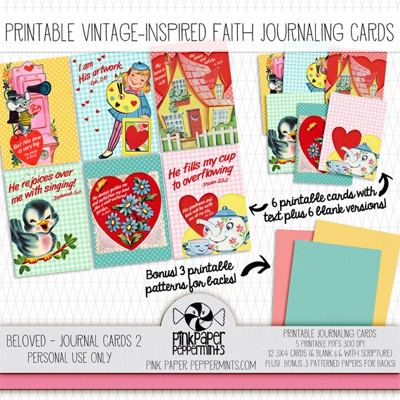 graphic relating to Printable Journaling Cards identified as Printable Bible Journaling Playing cards with Scripture Verses - Classic Linen Valentines for Religion Artwork Journaling suggestion-ins Christian Planners