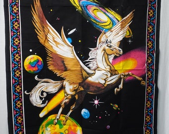Vintage 80's PEGASUS Horse GALACTIC RAINBOW Planets Fantasy Tapestry Road Side Street Fair Wall Hanging Cotton Fabric Poster Print