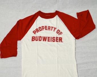Vintage BUDWEISER BEER T-shirt Old Stock! Sz-M Shirt Baseball Style Tee