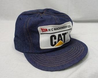 b9fe6a8ce04 Vintage CAT CATERPILLAR PATCH 80 s Ag Denim Trucker Cap Baseball Hat  Snapback Agriculture