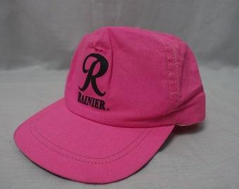 Vintage RAINIER BEER 80 s NEON Logo Trucker Cap Baseball Hat Snapback e035868264d