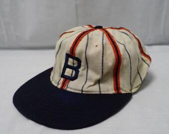 1ab556c2a6e0d Vintage BROOKLYN 40 s Logo Baseball Team Wool Hat Ebbets Field Flannels mLb  Cap