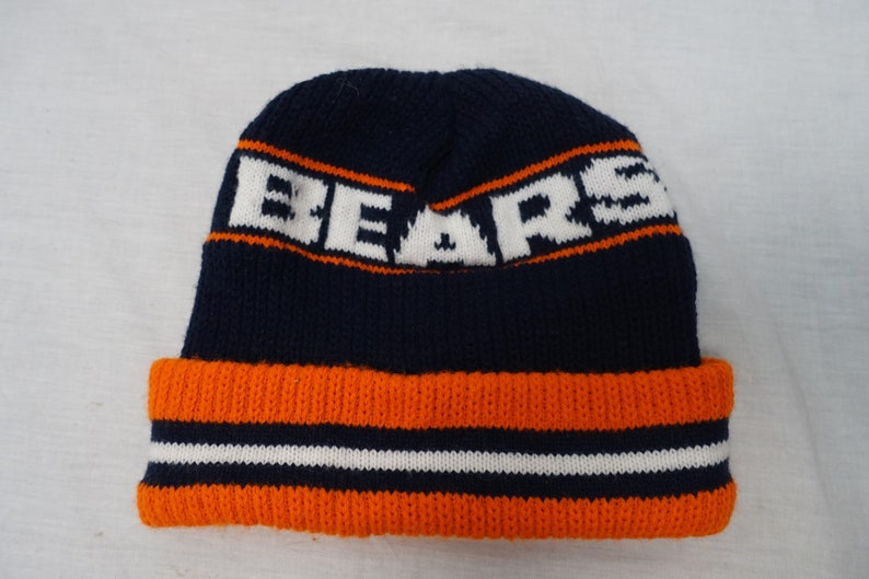 Vintage CHICAGO BEARS Chunky Knit Winter Stocking Cap 80 s  355e6eb1f
