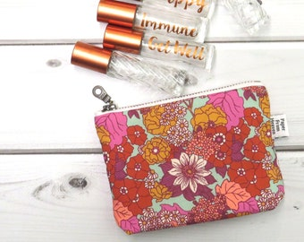 Zipper Pouch ITY-BITY - Dainty Daisies - floral rollerball essential oil bag coin purse Zip pouch essential oil accessories