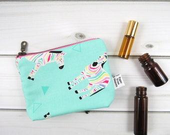 Ity-Bity Zipper Pouch - Rainbow Zebra - rainbow mini change pouch essential oil bag coin Zip Wallet kids oil bag clutch
