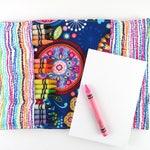 Crayon Notebook - Tribeca - flower crayon folder, kids art journal, girls gift, kids Bible journaling