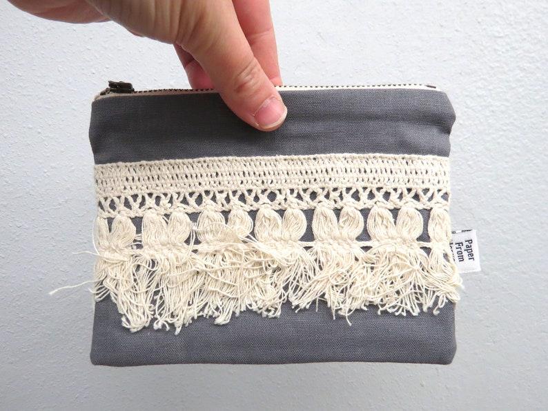 Linen Lace clutch SMALL   ELLIE in Graphite  vintage cotton image 0