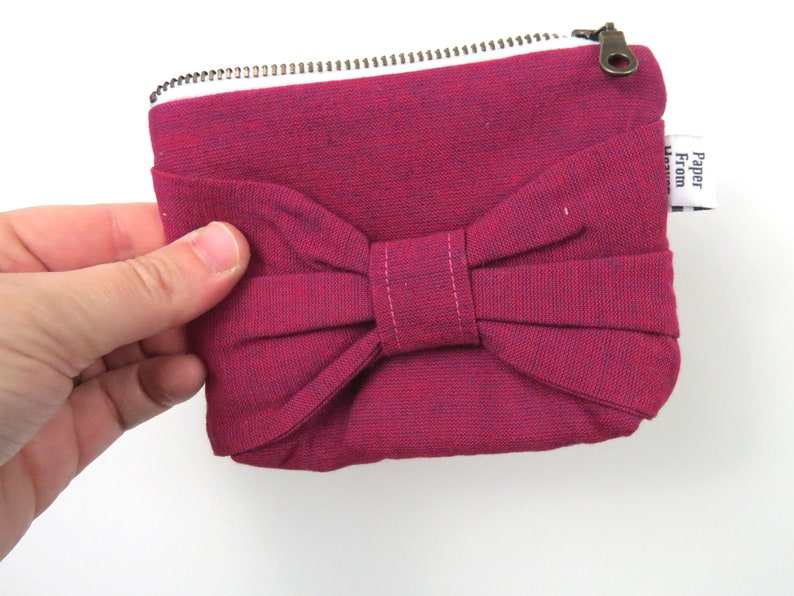 Bow Zipper Pouch ITY-BITY  Berry  mini change pouch image 0