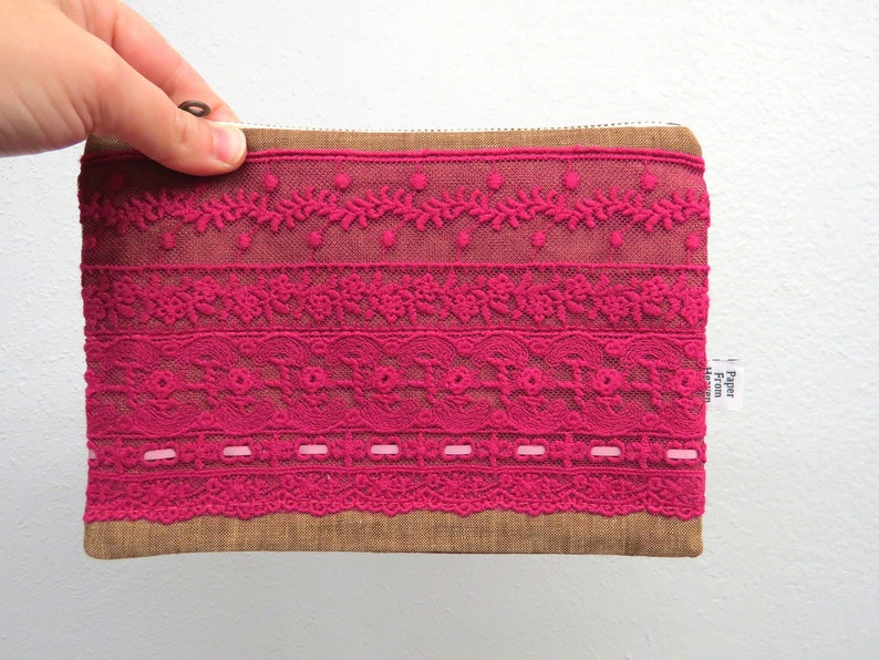 Linen Lace clutch MEDIUM  RUTH in Tobacco  vintage cotton image 0