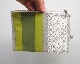 Linen Lace clutch zipper pouch MEDIUM  - green stripe - vintage cotton lace, linen cosmetic bag, passport case