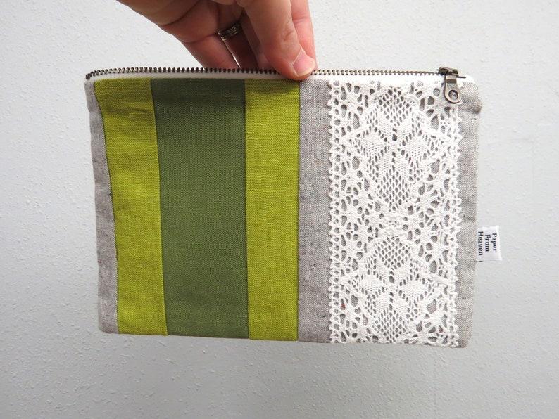 Linen Lace clutch zipper pouch MEDIUM   green stripe  image 0